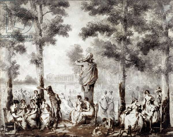 View of the Tuileries terrace in 1807 World exit to the park. Drawing by Jean Pierre Norblin De La Gourdaine (1745-1830) 1807 Paris, Musee Carnavalet