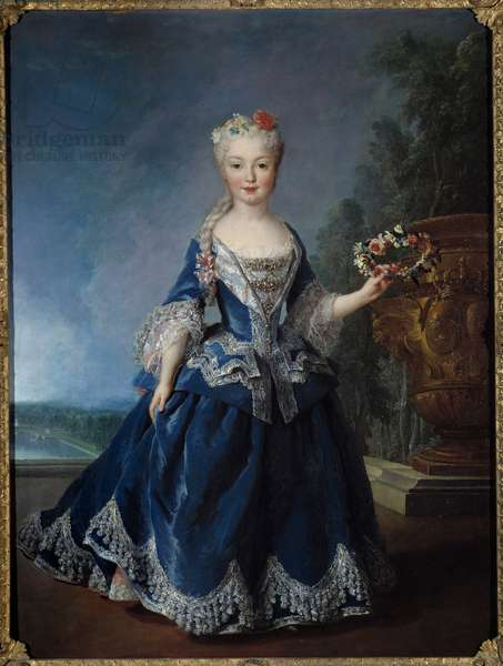 Portrait in foot of Marie Anne Victoire, Infante of Spain (1718-1781) in front of the water of the Swiss in Versailles Painting by Alexis Simon Belle (1674-1734) 1725 Sun. 0,99x1,04 m