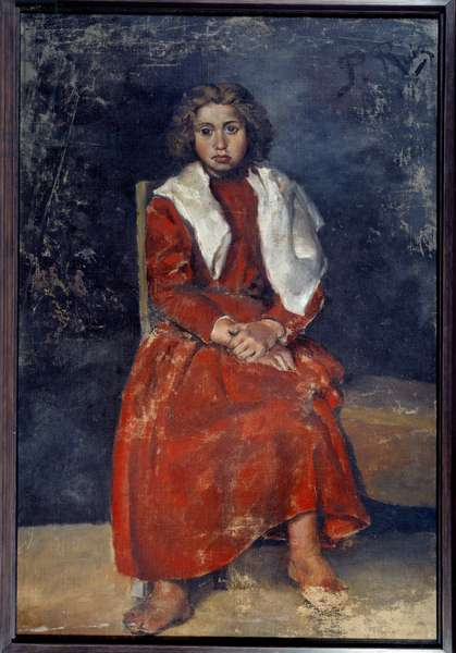 The barefoot girl. Oil on canvas. Dim: 0.57 x 0.50m. Painting by Pablo Picasso (1881-1973), 1895. Paris, Musee Picasso