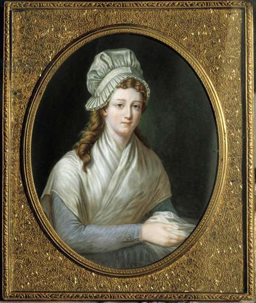 French Revolution: Portrait of Charlotte Corday (1768 - 1793). Anonymous French painting, 18th century. Versailles, Musee Lambinet