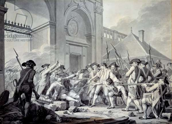 Nancy case: On 31 August 1790, the Marquis de Bouillé (1739-1800) launched a repression against the soldiers of the garrison of Nancy, in rebellion against their officers. The battle took place in front of the guard post at the Stainville Gate, during which Lieutenant Desilles (1767-1790) was wounded while interposing. Drawing by Jean Jacques Francois Barbier Dit L'Ain (1738-1826), 1790. Paris, Musee Carnavalet