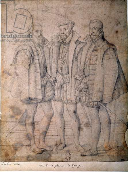 Portrait of the three Coligny: Cardinal Odet (1515-1571), Gaspard (1517-1572), Admiral of France and Francois (1521-1569), Lord of Andelot. Drawing attributed to Frans (Francois (Franz) Pourbus l'Aine (1545-1581) (ec.flam.) 16th century Paris, B.N.