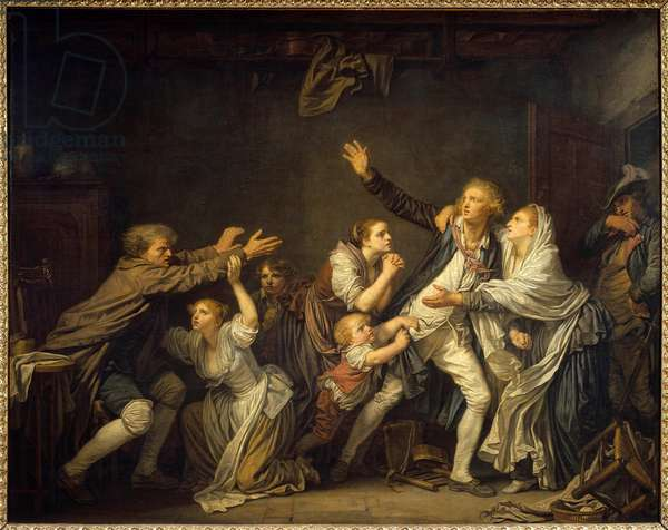 A father denies his son forced to leave the family home. Painting by Jean Baptiste Greuze (1725-1805) 1777 Sun. 1,30 x 1,62 m