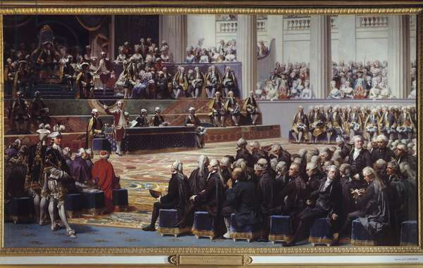 """Opening of the General States at Versailles on 5 May 1789. Painting by Auguste Couder (1789-1873), 1839. Oil on canvas. Dim: 4,00 x 7,15m.  - Opening of the """"Etats Generaux"""" in Versailles, 5 May 1789. Painting by Auguste Couder (1789-1873), 1839. Oil on canvas. 4.00 x 7.15 m. Versailles, Castles of Versailles and Trianon"""