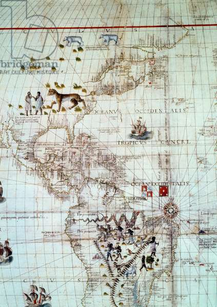 Continent of America. Detail of the world map by Sebastien Cabot, 1544. Paris. BN
