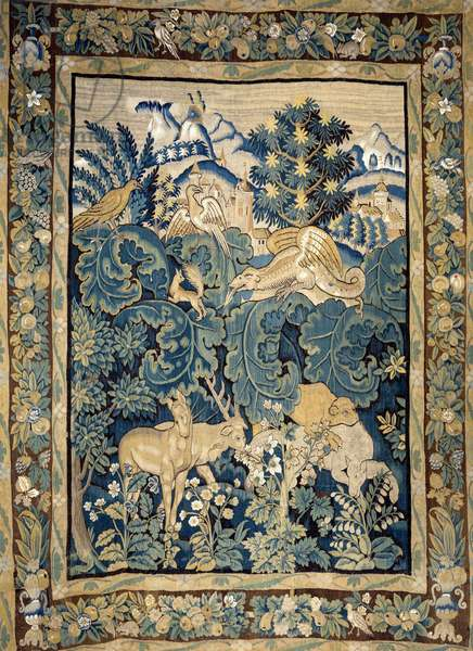 Representation of fantastic animals in a virgin forest. 15th century tapestry. Angers, castle museum