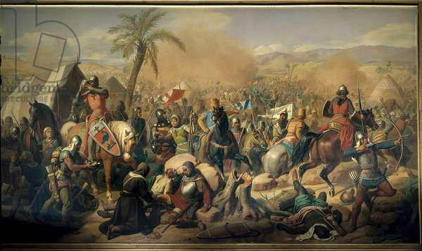 """First crusade: """""""" Battle of Ascalon 12/08/1099, victory of Godefroy de Bouillon (1061-1100) over the vizir Afdal"""""""" Painting by Victor Schnetz (1787-1870) 1843 Sun. 3,15 x 5,56 m. Versailles. Chateau Museum"""