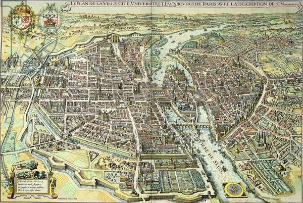 Plan of Paris in 1615. Engraving by Mathieu Merian, 17th century. Paris.