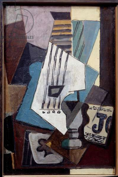 Guitar, diary, glass and treble ace. Oil on canvas. Dim: 0,41 x 0,27m. Painting by Pablo Picasso (1881-1973), 1914. Paris, Musee Picasso.