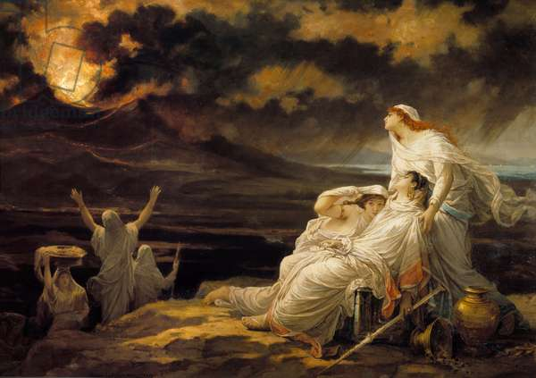 Herculanum (23 August 79): the ancient city destroyed by the eruption of the Vesuve and the inhabitants who came to take refuge on a hill - Painting by Louis Hector Leroux (1829-1900), 1881 Sun: 1,9 x 3 m Paris, Musee d'Orsay