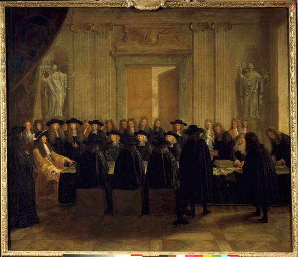 King Louis XIV (1638-1715) holding the seals in the presence of the Councillors of State and the Master of Requests while he himself held the office of Chancellor of France between February and April 1672 Anonymous painting. 17th century Sun. 1,10 x 1,28 m. Versailles. Chateau Museum