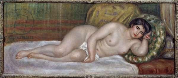 Naked woman (Gabrielle) Gabrielle Renard (1879-1959) was the nurse of Jean Renoir (1894-1979), son of the painter. Painting by Pierre Auguste Renoir (1841-1919) 1907 Sun. 0,67x1,6 m Paris, Musee de l'Orangerie