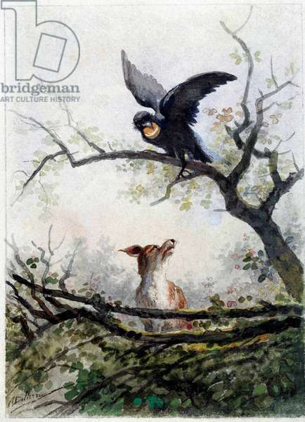The fox and the crow. Illustration of the fable by Jean de La Fontaine (1621-1695), 17th century. Lithograph by Auguste Delierre (1829 -?) , 19th century. Chateau Thierry, Musee La Fontaine