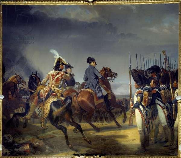 The Battle of Iena on 14/10/1806, Emperor Napoleon I (1769-1821), Joachim Murat and Louis Alexandre (Louis-Alexandre) Berthier pass the guard review Painting by Emile dit Horace Vernet (1789-1863) 1836 Dim 4,65x5,43 m