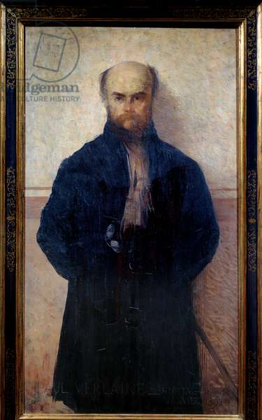 Portrait of Paul Verlaine (1844 - 1896) French poet and writer. Painting by Edmond Francois Aman Jean (Aman-Jean, Amand Jean, Aman-Jean, 1860-1936), 1892. Metz, Museum of Fine Arts