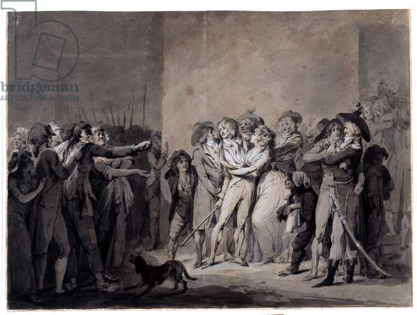 The arrest of Charlotte Corday (1768-1793) after the murder of Marat Drawing by Louis Leopold Boilly (1761-1845) 19th century Paris, Musee Carnavalet