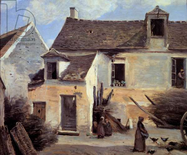 Courtyard of a peasant house near Paris Painting by Camille Corot (1796-1875) 19th century Sun. 0,46x0,56 m Paris, Musee d'Orsay