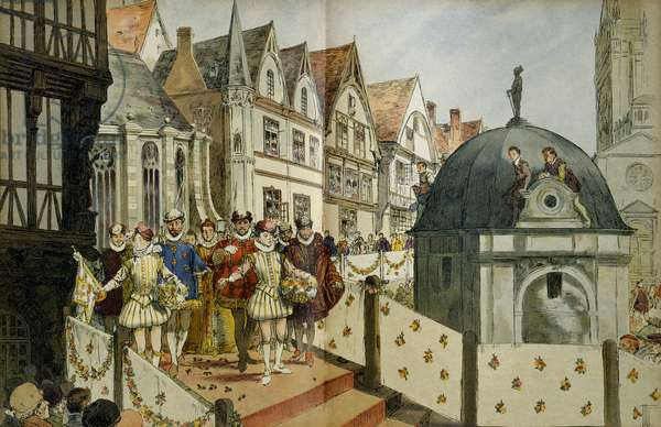 Royal cortege in the streets of Paris on the occasion of the marriage, on August 18, 1572, of Henry IV (or Henry III of Navarre, 1553-1610) and Marguerite de Valois (1553-1615). Illustration, 1907, by Hermann Vogel (1856-1918). Particuliere collection.