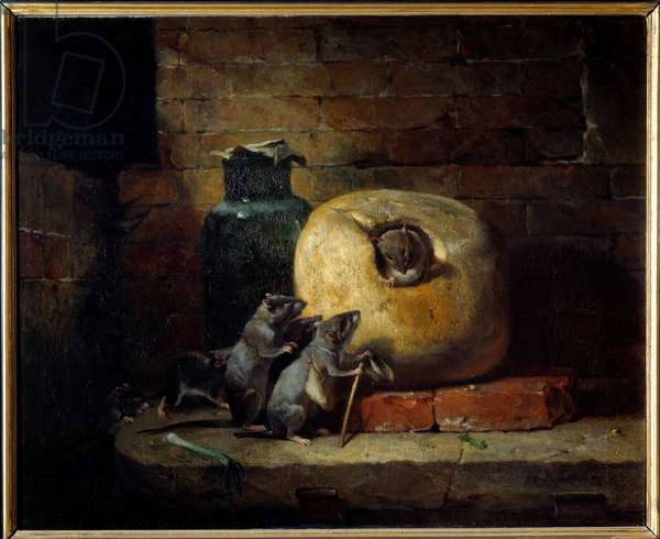 The rat that withdrew from the world. Illustration of the Fable by Jean de La Fontaine. Painting by Philippe Rousseau (1816 - 1887), 1885. Oil on canvas. Dim: 0,81 X 1,00m. Lyon, Musee Des Beaux Arts - The rat who retired from the world. Illustration for the Fable of Jean de La Fontaine. Painting by Philippe Rousseau (1816-1887), 1885. Oil on canvas. 0.81 x 1 m. Fine Arts Museum, Lyon, France