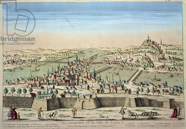 Detail view of the city of Lyon on the banks of the Rhone and the Saone. Engraving of the 17th century Paris B.N.