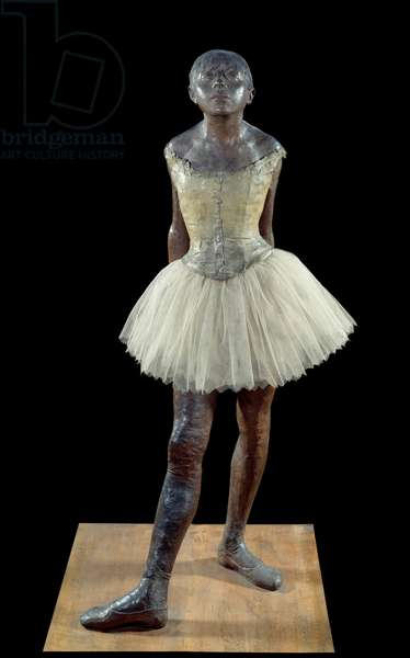 14 years old or tall dancer dressed - Sculpture by Edgar Degas (1834-1917) in bronze patina, tulle and pink satin on wooden base, 1881 - Paris, Musee d'Orsay - Dressed Ballet Dancer (the little dancer) (Front view) - Work by Edgar Degas (1834-1917), bronze sculpture with muslin, satin and wood base (97.8 cm), 1881 - Musee d'Orsay, Paris, France