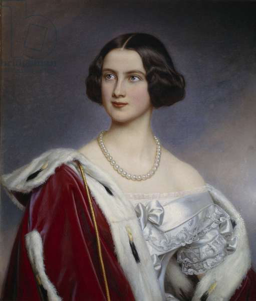 Portrait of Princess Mary of Prussia (1825-1889) Painting by Joseph Karl Stieler (1781-1858) (ec.all.) 19th century Munich. Chateau De Nymphenburg