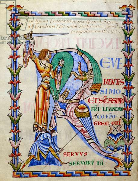 """Knight fighting the dragon - lettrine R (initial), Miniature from the manuscript """""""" Moralia in Job"""""""", Morales sur Job by Saint Gregoire, from the citeau abbey, 1111. Ref: 173, f. 103 v - Dijon, Municipal Library - Knight fighting the dragon (Initial R) - Miniature painting from the manuscript """""""" Moralia in Job"""""""""""", by pope Gregory (known as Saint Gregory the Great, c.540-604), from Citeau Abbey, 1111 - Dijon Municipal Library, France"""