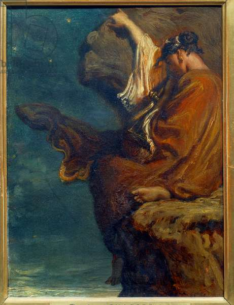 Sapho The Greek poetess Sapho (Sappho) (around 600 BC) sitting on a rock and looking at the sea with melancolia. Painting by Theodore Chasseriau (1819-1856) 1849 Sun. 0,27x0,21 m Paris, musee d'Orsay