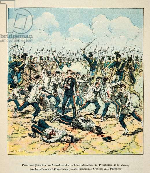 French and Germans, anecdotal history of the War of 1870-1871, 1888, illustration by Georges Hardouin (1846-1893) also says Dick de Lonlay: Massacre of the motives of the Marne by the Uhlans on 25 August 1870 in Passavant - private collection