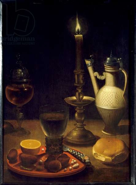 Still life by candlelight Painting by Gotthardt by Wedig (Gottfried Von Wedig) (1583-1641), 17th century. Dim. 0.50 X 0.36 m. Paris, Louvre Museum