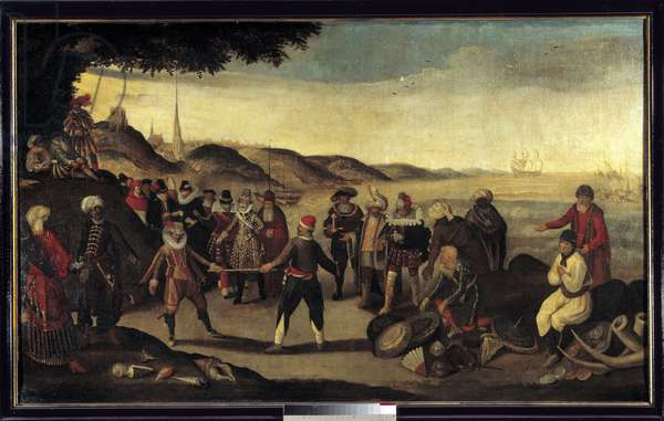 """Eighty Years' War (Eighty Years or 80 Years) (Revolt of the Netherlands) (1568-1648): """""""" Dispute du Baton d'Or, 1609"""" (Henri IV, the Doge of Venice Leonardo Dona and Ambrose d'Espinola endorsed the treve of 9 April 1609 (or Treve of the Twelve) or Spaniards and Dutch agreed for the trade in India). Painting of the French School. 1609 Sun. 1,19x1,98 m"""