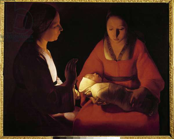 The New Born Child (The New Born Child). Painting by Georges De La Tour (1593-1652), 17th century. Oil on canvas. Dim: 0.76x0.91m. Rennes, Musee Des Beaux Arts - The New born Child also called The new born Christ. Painting by Georges De La Tour, 17th century. Oil on canvas. 0.76 x 0.91m. Beaux-Arts Museum, Rennes, France