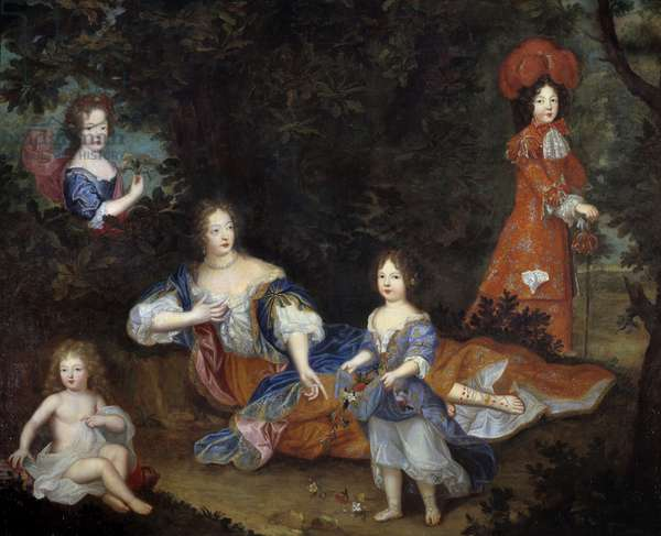 Portrait of Francoise Athenais (Francoise-Athenais) by Rochechouart Mortemart, Marquise de Montespan (or Madame de Montespan) (1640-1707) and her children the Duke of Maine, the Count of Vexin, miss of Tours and miss of Nantes Painting of the French School. 17th century Sun. 2.06 x 2.52 m