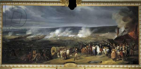 The Battle of Jemmapes on November 6, 1792, presentation of Austrian prisoners to Charles François du Perier, dit Dumouriez (1739-1823), Augustin Daniel Belliard (1769-1832), Macdonald (1765-1840) and the Duke of Montpensier. Painting by Henry Scheffer (1798 - 1862), 1792. Oil on canvas. Dim: 2.96 x 6.78m. .