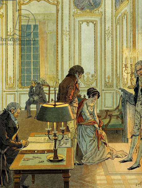 Day of the civil marriage of Napoleon I Bonaparte (1769-1821) with Josephine de Beauharnais, Imperatrice of the French (1763-1814) on 9 March 1796 in Paris. Illustration by Jacques Marie Gaston Onfray de Breville dit JOB (1858-1931), 1910. Private Collection