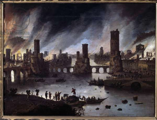 View of the Fire of Troy Painting by Daniel van Heil (1604-1662) 17th century Besancon. Musee Des Beaux Arts - View of the burning of Troy. Painting by Daniel van Heil (1604-1662), 17th century. Beaux-Arts Museum, Besancon, France