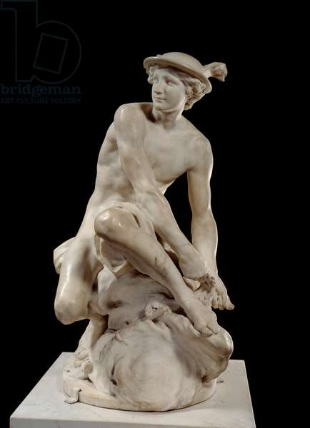 Mercure Attanchant ses heels Marble sculpture by Jean Baptiste Pigalle (1714-1785) 1744 Paris, musee du Louvre - Mercury Attaching his Winged Sandals by Jean-Baptiste Pigalle