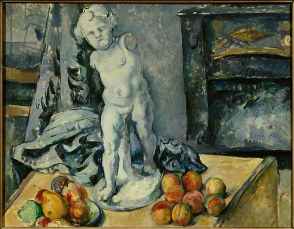 Still Life with Cupid in Plaster Painting by Paul Cezanne (1839-1906) 1894 Sun. 0,63x0,81m. Stockholm. National Museum - Stilll-life with plaster Cupid. Painting by Paul Cezanne (1839-1906), 1894. 0.63 x 0.81m. National Museum, Stockholm, Sweden