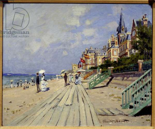 Trouville Beach. Painting by Claude Monet (1840-1926), 1870. Oil on canvas. Dim: 0.51 x 0.63m. Hartford, Wadsworth Atheneum - The Beach at Trouville. Painting by Claude Monet (1840-1926), 1870. Oil on canvas. 0.51 x 0.63 m. Wadsworth Atheneum of Arts, Hartford, USA