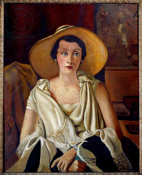 Portrait of Madame Paul Guillaume in the big hat. Wife of a French modern art dealer. Painting by Andre Derain (1880 - 1954), 1929. Oil on canvas. Dim: 0.92 x 0.73m. Paris, Musee De L Orangerie.