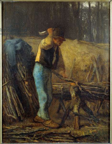 The wood splitter A woodman with a machete cutting branches of a tree into bundles. Painting by Jean Francois Millet (1814-1875) 19th century Sun. 0,38x0,29 m