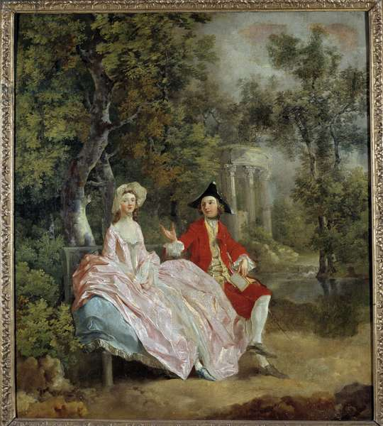 Conversation in a park: Thomas Gainsborough and his wife Margaret Painting by Thomas Gainsborough (1727-1788) 1746 Sun. 0,73 x 0,68 m  - Conversation in a Park: Thomas Gainsborough and his bride, Margaret. Painting by Thomas Gainsborough (1727-1788), 1746. 0.73 x 0.68 m. Louvre Museum, Paris