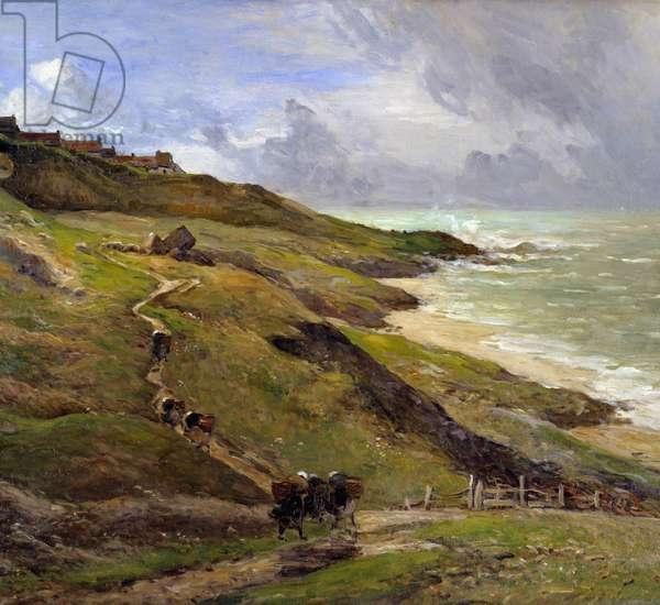 The rocks of Equihen Landscape of the Breton coast. Detail. Painting by Antoine Guillemet (1843-1918) 1910 Rouen Musee des Beaux Arts