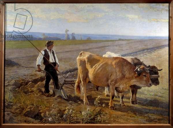 The furrow. Painting by Edouard Debat Ponsan (Debat-Ponsan, 1847-1913), 1897. Oil on canvas. Dim: 1,49x2,00m. Pau, Musee Des Beaux Arts - The furrow. Painting by Edouard Debat Ponsan (Debat-Ponsan, 1847-1913), 1897. Oil on canvas. 1.49 x 2 m. Beaux-Arts Museum, Pau, France