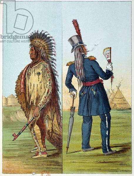 Indians of America: Indian assiniboin vetu in military in his pockets two bottles of wisky. Illustration by George Catlin (1794-1872), 19th century. Paris, B N