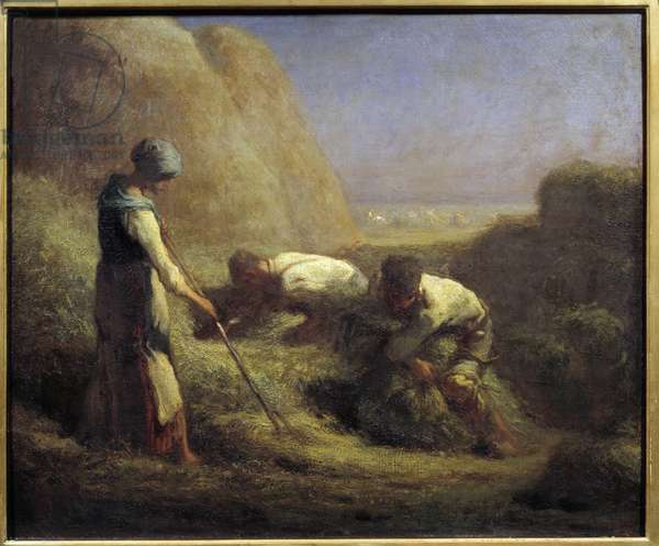 The hay boaters. Peasants make up the boots with the hay that has just been mowed. Painting by Jean Francois Millet (1814-1875) 19th century Sun. 0,54x0,65 m