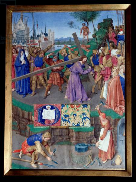 """Portage de croix Miniature taken from """""""" The Book of Hours of Etienne Chevalier"""""""" by Jean Fouquet (1420-1477/1481), 15th century. Chantilly, Conde Museum"""
