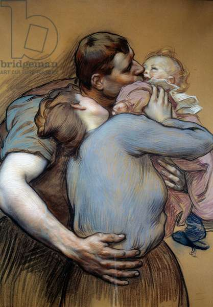 The family. Drawing by Victor Prove (1856-1943), 1898, pastel and charcoal. Dim: 0,10 x 0,13m. Paris, Musee d'Orsay.