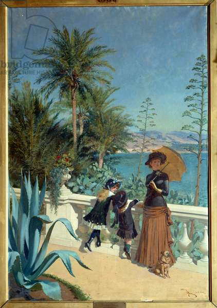 Terrace in Monte Carlo. Painting by Adrien Marie (1848-1891), 1883. oil on canvas. Meaux, Bossuet Museum