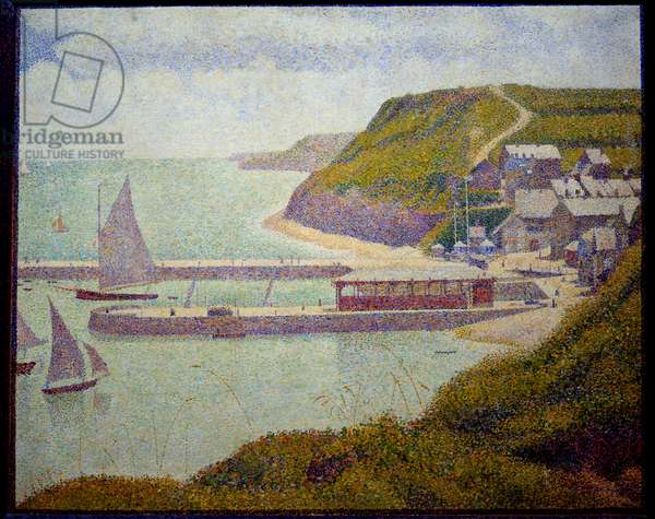 Port en Bessin, before port, maree haute Painting by Georges Seurat (1859-1891) 1888 Sun. 0,67x0,82 m. Paris, Musee d'Orsay